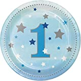 Creative Converting Twinkle One Little Star Boy 1st Birthday Dessert Plates, 7-Inc Size, Blue