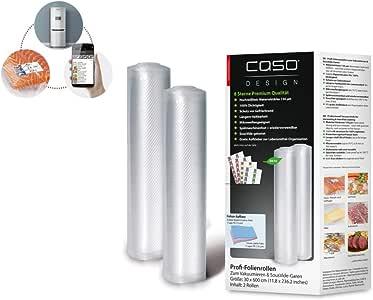 CASO Profi- Folienrollen 30x600 cm / 2 Rollen, für alle Balken Vakuumierer, BPA-frei, sehr stark & reißfest ca. 150µm, kochfest, Sous Vide geeignet, wiederverwendbar, für Folienschweißgeräte geeignet