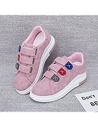 Wuyulunbi@ La primavera y el otoño zapatos blancos señoras Zapatos Zapatos de Velcro,44