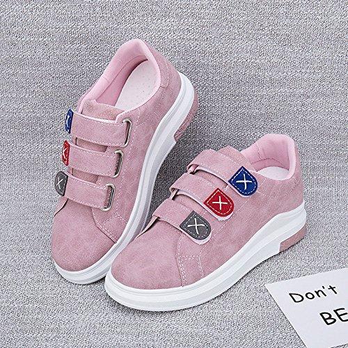 Wuyulunbi@ Primavera e Autunno White scarpe Scarpe Donna Scarpe Velcro Rosa