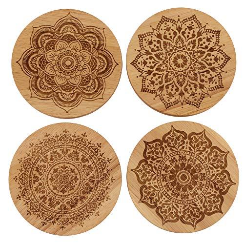 4 Stück Holzuntersetzer für Getränke Mandala Untersetzer Set Hostess Geschenke für Frauen Schreibtisch Untersetzer rustikal Home Decor Einweihungsgeschenke für Frauen -