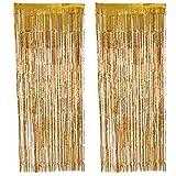 2 Pezzi Tende a Frange Foil Curtain Frange Finestre Tende per Le Decorazioni Feste (Oro)