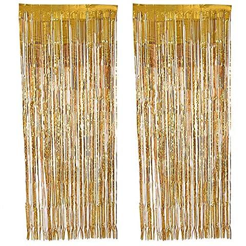 Outus 2 Pack Foil Curtain Metallic Foil Fringe Curtains Door