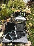Lanterna con base e l' ornamento Lanterna funeraria Tombe lampada lampada di cimitero Lanterna Tomba Luce con Base Granito Nero 25cm x 25cm x 5cm