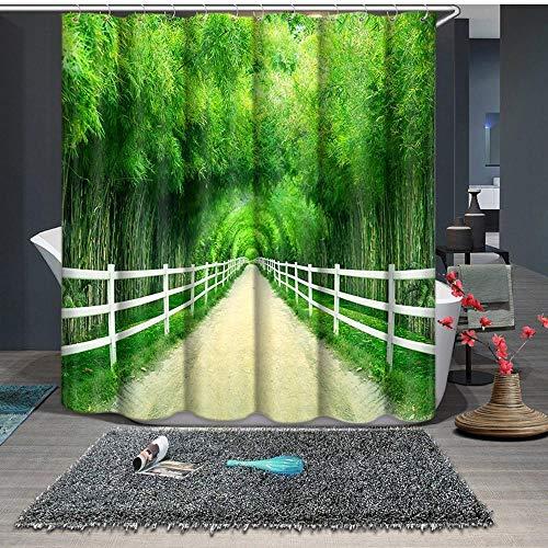 Wald Grün Schatten Tuch (Henypt Shower curtain 3D Duschvorhang Polyester Tuch Wasserdicht Druck Bambus Wald Grünen Schatten Bad Vorhang Dekoration Duschvorhang Mit Haken 180 * 200 cm)
