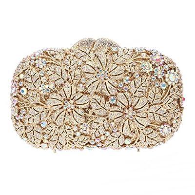 Bonjanvye Shining Rhinestone Flower Purse for Party Wedding Clutch Bags for Ladies
