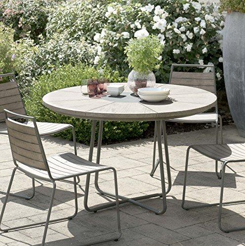 MACABANE 509005 Table à Manger Ronde Couleur Gris en Teck et Acier Dimension 120cm X 120cm X 77cm