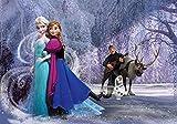 Fototapete Disney Die Eiskönigin Frozen Kristoff, Sven, Olaf, Anna & Elsa (416 x 254cm - 4-teilig) Vlies-Tapete