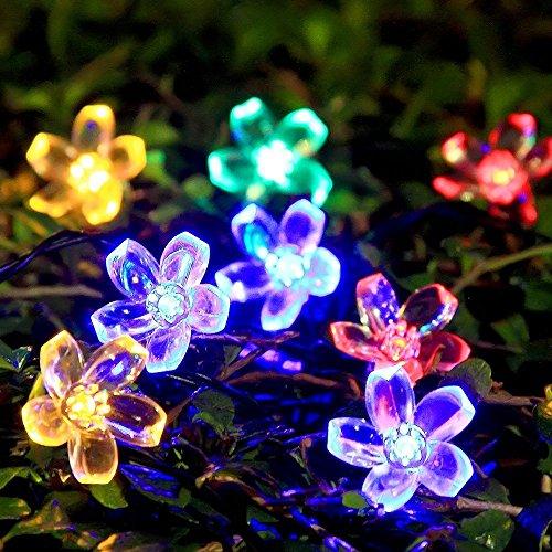 Innootech 5m 50er Bunte LED Blumen Solar Lichterkette Als Blüten-Lichteketten, Aussenbeleuchtung, Solar Garten Beleuchtung, LED Lichterkette Aussen (Garten-blumen Bunte)