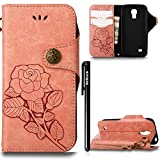 Hülle Galaxy S4 Mini Retro Blume Frauen,BtDuck Slim Tasche Vintage Brieftasche Handyhülle Ledertasche Flip Cover Schutzhülle Samsung Galaxy S4 Mini CoverSilikon Back Brieftasche Licht Orange