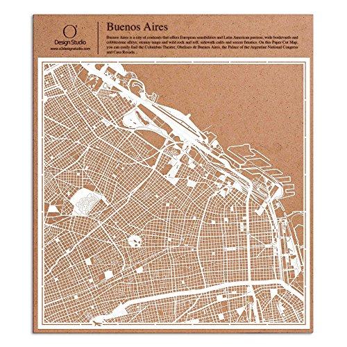 Buenos Aires Scherenschnitt Karte, Weiß 30x30 cm Papierkunst
