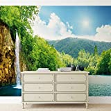 Tapeto Fototapete - Wasserfall See Natur - Vlies 254 x 184 cm (Breite x Höhe) - Wandbild Sonne Himmel Kaskade