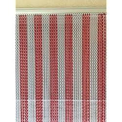 Rojo y plata doble gancho aluminio mosquitera puerta pantalla de cadena cortina para puerta Fly–Extra largo–90cmx210cm