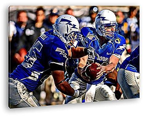 mutige Footballspieler Format: 120x80 Effekt: Zeichnung als Leinwand, Motiv fertig gerahmt auf Echtholzrahmen, Hochwertiger Digitaldruck mit Rahmen, Kein Poster oder (Michigan Hockey Jersey)