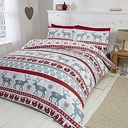 Parure da letto con Copripiumino Matrimoniale e 2 federe, motivo: Cuori di Natale, 100% flanella di cotone spazzolato, colore: rosso/multicolore, Cotone, Red/multi-colour, King