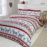 Parure da letto con copripiumino e 2federe, motivo: Cuori di Natale, 100% flanella di cotone spazzolato, colore: rosso/multicolore, Cotone, Red/multi-colour, Doppio