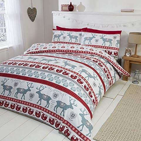 Weihnachten Herzen 100% gebürsteter Baumwolle Feinbiber Bettwäsche Quilt Bettbezug und Kissenbezüge Bett-Set, Rot/Mehrfarbig,
