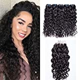 Maxine Water Wave Hair 100% Brazilian Water Wave Bundles with Free Part Closure Unprocessed Human Hair Extensions Natural Black Color(20 22 24 with 20 Closure)