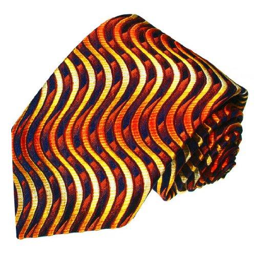 Lorenzo Cana - Handgefertigte Designer Marken Krawatte aus 100% Seide - Orange Blau Wellenmuster - 84242 - Italien Seide Krawatte