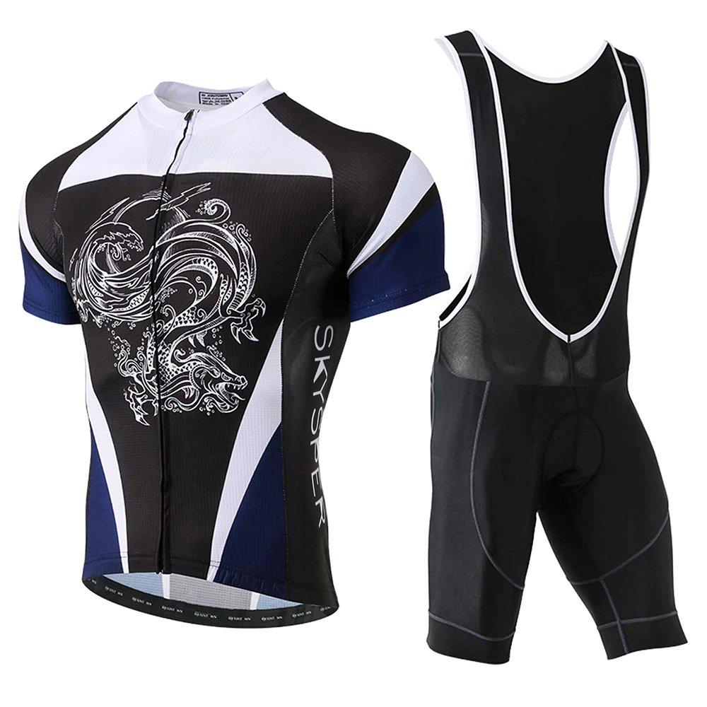 dove comprare lusso prezzi SKYSPER Set Abbigliamento Ciclismo Estivo, Completo Ciclismo Maniche Corte  + Salopette 360 Gradi Traspirante per Uomo