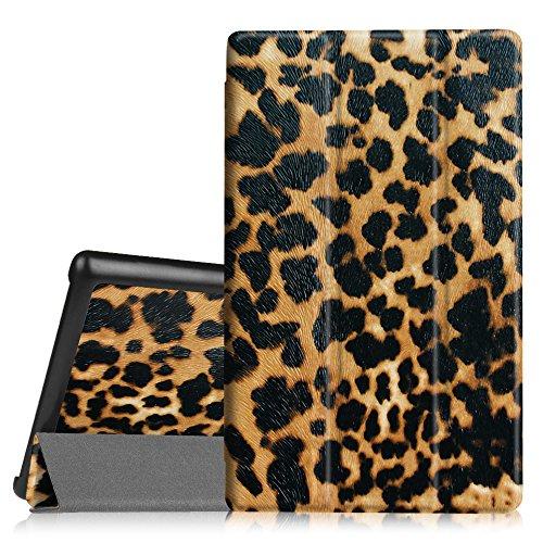 Fintie Samsung Galaxy Tab 4 8.0 Hülle Case - Ultra schlank superleicht Ständer Smart Shell Cover Schutzhülle Etui Tasche mit Auto Schlaf / Wach Funktion, Leopard Braun