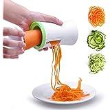 Mengger Spiralschneider Hand für gemüsespaghetti 3-Klingen manuell kartoffelspirale Gemüsehobe Gurkenschneider Gemüsehobel Karotte Zucchini Gurke Kürbis