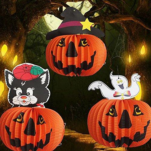 3 Stück Lampion Laterne Halloween Kürbis,Dancepandas Schöne hängende Kürbis-Laternen Dekorative (52 Hängenden Laterne)