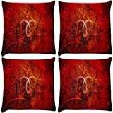 Snoogg Abstract Red Design Pack Of 4 Digitally Printed Cushion Cover Pillows 12 X 12 Inch