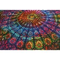 Manta decorativa hecha a mano en la India para colgar en la pared de Future Handmade, tamaño doble, multicolor, manta de playa, alfombrilla hippie, alfombrilla de yoga, bohemia, 100% de algodón, manta de decoración de hogar, 100% algodón, multicolor, Design 2