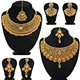 Sukkhi Glamorous Gold Plated Choker Necklace Set Combo for Women