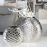 1 x Vase Blend Aluminium vernickelt Ellipsenstruktur gehämmert Höhe 35 cm, f. Blumen, Tischdeko