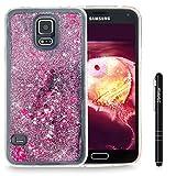 Slynmax Galaxy S5 Hülle Durchsichtig TPU Glitzer Liquid Case Silikon Schutzhülle für Samsung Galaxy S5 / S5 Neo Bumper Handyhülle Tasche Dual-Layer Treibsand Shell(Lila)