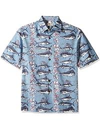 Kahala Men's Short Sleeve Fish Pareo Avi Kiriaty Hawaiian Shirt