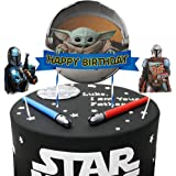 Decoraciones para tartas de Yoda para bebés, con temática mandaloriana, 3 unidades, Star Wars Happy Birthday Baby Cute Yoda P