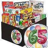 Geschenke zum 65. Geburtstag   Süße Nostalgiebox   Süße Geschenk Box DDR mit aquarellem Aufkleber Zahl 65   mit Mintkissen Viba, Zetti Cocosflocken und mehr