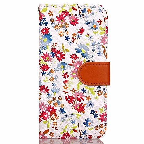 iPhone Case Cover Mischfarben-PU-Leder-Kasten-Mappen-Kasten mit Karten-Bargeld-Slot kleine Blumen-Muster-Fall-Standplatz-Abdeckung für Apple IPhone 7 ( Color : Brown , Size : IPhone 7 ) White