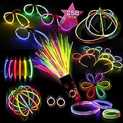 Doubleme Set de 100 Barras Luminosas para Fiestas 20 cm - 10 Colores - Pulseras Luminosas, Collares, Kits para Crear Gorra, Gafas, Pendientes, Pulseras Triples, Diademas, Flores/ Bola y Mucho Más!