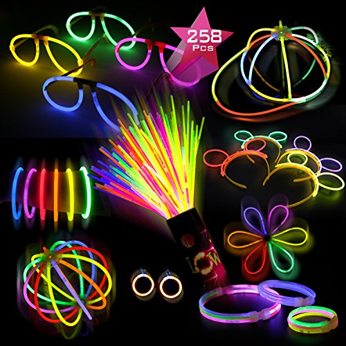Doubleme pacco di 100 barre luminose per party - 10 colori - braccialetti luminosi, collane, kit per creare cappello, occhiali, orecchini, braccialetti tripli, cerchietti, fiori, palla luminosa