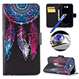 Etsue Samsung Galaxy J3 Prime Wallet Case, Samsung Galaxy J3 Prime Leather Case with Strap, Colorful Cute Design Pattern Wallet Flip Case Cover Card Holders with Stand Book Type Magnetic Closure for Samsung Galaxy J3 Prime+Blue Stylus Pen+Bling Glitter Diamond Dust Plug(Colors Random)-Red Feather Dreamcatcher