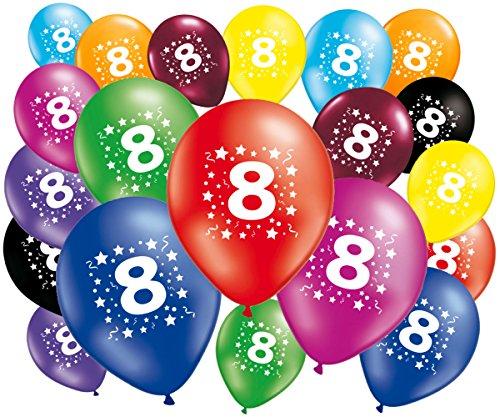 Lote de 20globos cumpleaños 8años–30cm–globos 8años