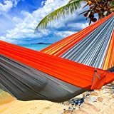 Double Hammock Lightweight Portable Hammocks,Carabiners and Ropes Included For Backpacking, Camping, Hiking, Travel, Beach, Yard