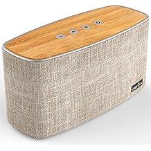 COMISO 30W Bluetooth Altavoz inalámbrico con Dual 15W Drivers y Radiador Pasivo, Madera de bambú Audio para el hogar con 20h de tiempo de trabajo