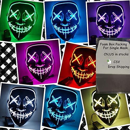 HAO Halloween Maske LED Leuchten Party Masken Die Reinigung Wahl Jahr Große Lustige Masken Festival Cosplay Kostüm Liefert Glow In Dark DE (Farbe : Blau)