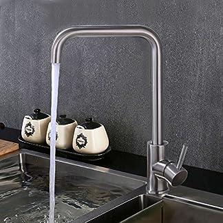 HOMELODY 360° Giratorio Grifo de cocina Grifo de fregadero Monomando de cocina Grifería de cocina Agua fría y caliente
