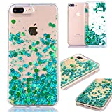 iPhone 7 Plus/8 Plus Glitzer Hülle,iPhone 7 Plus/8 Plus Flüssig Hülle,Weich 3D Bling Liquid Glitzer TPU Klar Transparent Durchsichtiges flüssigkeit Stern Fischschuppen Treibsand Handyhülle,Grün