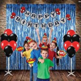 #9: PARTY PROPZ SPIDER MAN COMBO INCLUDE 3 FOIL CURTAINS, 1 HAPPY BIRTHDAY BANNER, 24 PCS BALLOON, 10 PCS CAP, 1 SET OF PHOTOBOOTH/ SPIDER MAN PARTY SUPPLIES/ SPIDER MAN PARTY DECORATION
