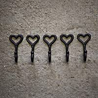 HomeZone® 5Pc Love Heart Coat Hooks Wall Mounted Black Coat Hanger For Wall Home Garden Hanging Hooks Vintage Coat Hooks Coat Hanger On Wall.