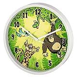 """Hama Kinder Wanduhr ohne Ticken """"Dschungel"""" (analoge Uhr, großes Ziffernblatt mit Ø 22,5 cm, geräuscharm, mit Tier-Motiv, z.B. für's Kinderzimmer) Kinderwanduhr grün"""