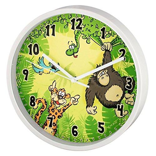 Hama Kinder Wanduhr ohne Ticken Dschungel, analoge Uhr, großes Ziffernblatt mit Ø 22,5 cm, geräuscharm, mit Tier-Motiv, z.B. für's Kinderzimmer, Kinderwanduhr, grün