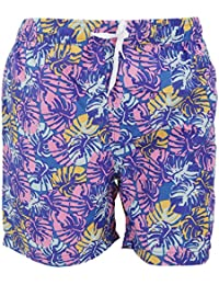 SoulStar Mens Toria Vibrant Leaf Pattern Swim Shorts